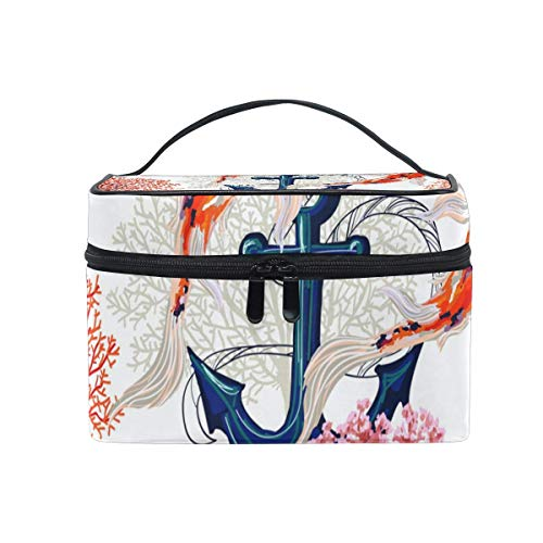 Anchors Fish Floral Cosmetic Bag Toiletry Travel Makeup Case Handle Pouch Multi-Function Organizer for Women