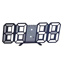 FANDSON 3D Digital Alarm Clock,Wall LED Number Time Clock,Led Electronic Clock with Snooze Function,Modern Night Light Clock Date,Temperature Display
