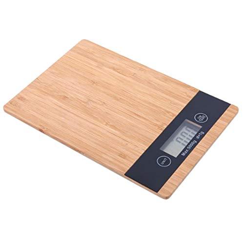 RETYLY Balance Numérique D'Affichage HD LCD Bois de Bambou 5000G/1G 5Kg Balance électronique Multifonctions avec Affichage HD LCD Arrêt Automatique