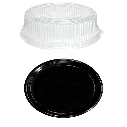 Party Essentials Soft Plastic 12-Inch Round Flat ServingCatering Trays Black with Clear Dome Lids Set of 2