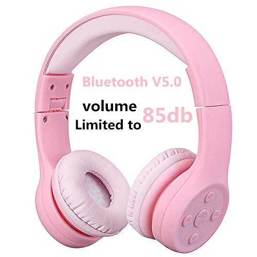 Bluetooth Kopfhörer Kinder, Hisonic Bluetooth Kopfhörer für Kinder mit Laustärkebegrenzung Verstellbare Leicht und Tragbare Headset auch Mikrofon Funktion. (Rosa 01)