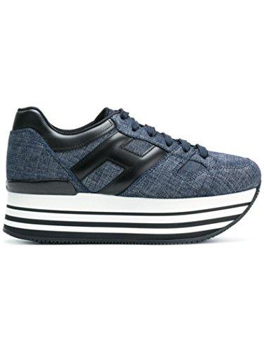 Hogan H283 Maxi 222 Calzatura Donna Sneakers Jeans Allacciata H Grande in Pelle Nera (37.5, Blu Scuro)