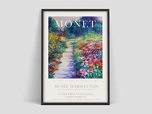 Cartel de Claude Monet, jardín de flores, cartel de exposición de arte, impresión de Claude Monet, impresión de arte de exposición, impresión de arte pintura decorativa sin marco A89 30x40cm