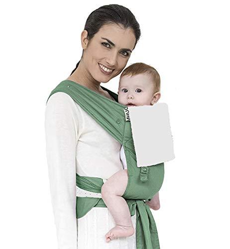 Mhug Mei Tai Porte-bébé ergonomique et breveté, Variante Hope, 100 % coton très doux, bicolore vert et blanc.