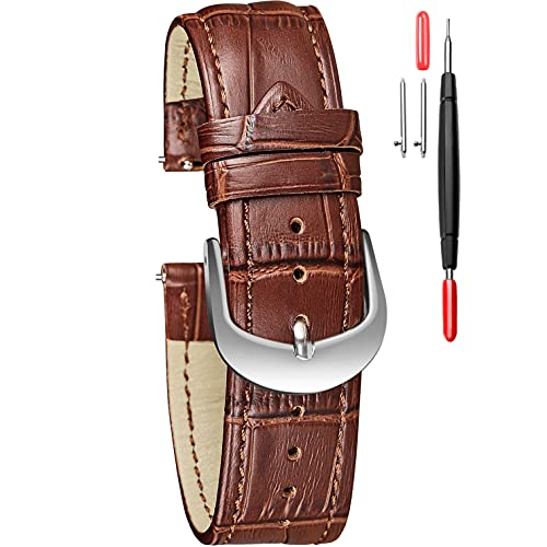 Leather Watch Band, Quick Release Alligator Embossed 16mm Replacement Strap for Women with Silvery Buckle