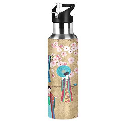 BGIFT Botella de agua con tapa de pajita aislada al vacío, diseño de geisha japonesa, estilo retro, con diseño de flor de cerezo japonés, 20 onzas