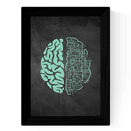 Nacnic Lámina Verde-Azul de Conexion Cerebral en tamaño A3 Poster con Fondo Negro Estilo Pizarra. Papel 250 gr y tintas Marco