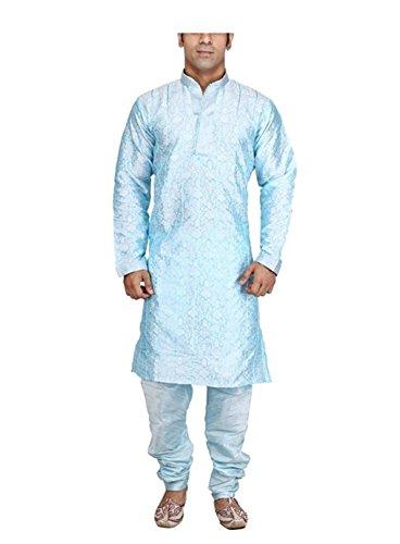 Royal Men's Blue Jacquard Pintex Sherwani