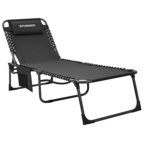 FUNDANGO Folding Chaise Lounge Chair for Outdoor, Lawn, Patio, Beach, Sunbathing, Deck, Lay Flat 4-Fold Portable Lightweight Heavy-Duty Adjustable Camping Reclining Chair with Pillow