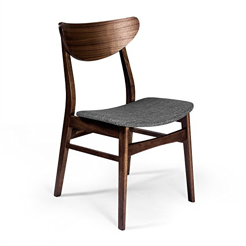 Aeon Furniture Dirk Dining Chair in Walnut and Grey Finish (Set of 2)