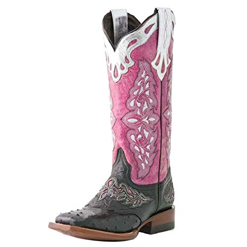 SacciButti Vintage Damen Western Stiefel Mid Calf Pull On Round Up Wide Open Half Boots Square Toe Cowboystiefel Farbig Pink Size 35 Asian