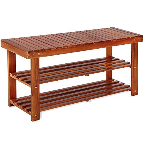 Deuba Schuhbank Schuhregal mit Sitzfläche Sitzbank Holz 3 Ebenen 90 x 46 x 32 cm Akazie Massiv Schuhablage Holzregal Bad