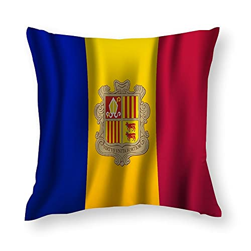 Andorra realistische winkende Flagge, Kissenbezug, quadratisch, dekorativer Kissenbezug für Sofa, Couch, Zuhause, Schlafzimmer, Innen- & Außenbereich, niedlicher Kissenbezug 45,7 x 45,7 cm