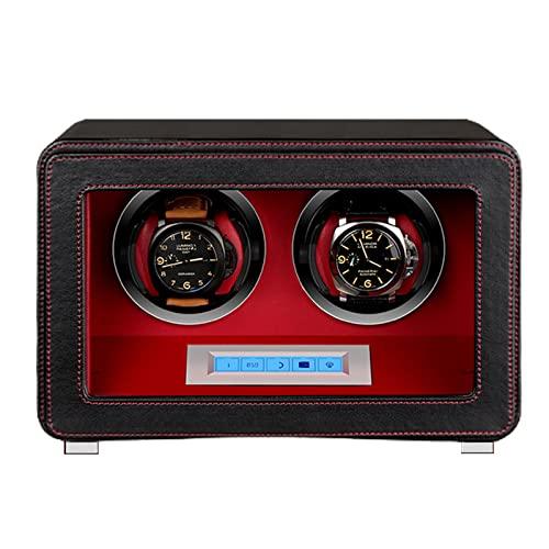 FENGCLOCK Enrollador De Reloj Doble Automático para 2 Relojes, Relojes De Cuero De PU Caja Rotadora De Reloj Mecánico De Cuerda Automática con Motor Silencioso Mabuchi Y 5 Modos De Rotación,Negro