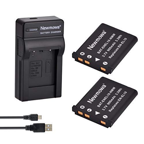 Newmowa® EN-EL10 Ersatz Akku (2er Pack) und tragbar Micro-USB-Ladegerät-Set für Nikon Coolpix S60, S80, S200, S202, S203, S205, S210, S220, S225, S230, S500, S510, S520, S570, S600, S700, S3000, S4000