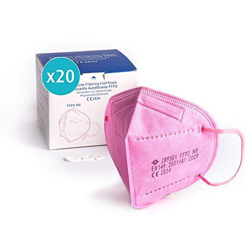 ProPulsan I 20 Stück Atemschutzmaske FFP2 Maske I CE zertifiziert 2834 I einzelverpack im PE-Beutel I pink I inkl. Maskenhalter