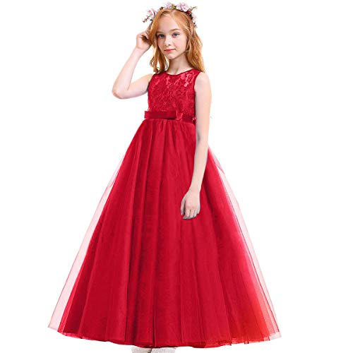 IBTOM CASTLE Big Girl Vintage Lace Junior Bridesmaid Dress Dance Ball Christening Pageant Maxi Gown Floor Long for Party Wedding Red 13-14Y