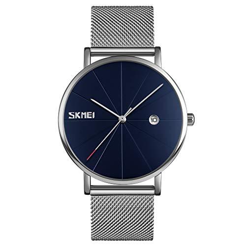 SKMEI Relógios pretos para homens, minimalistas, simples, 24 horas, mostrador de fase da lua, mostrador analógico de quartzo, pulseira de malha de aço inoxidável, 3 ATM, à prova d'água, relógio de pulso para presente, Azul e prata