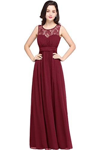 Damen Elegant Rund-Ausschnitt Hochzeitskeid Mesh Brautkleid mit Applique Bodenlang Weinrot 46