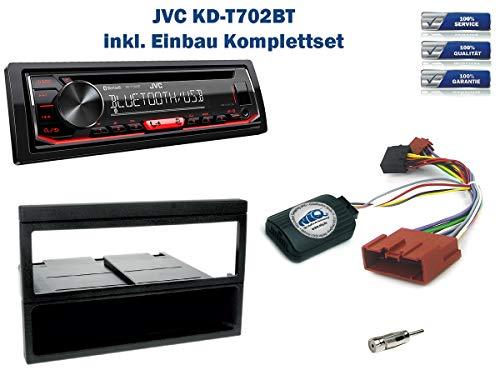 Autoradio Einbauset geeignet für Mazda MX-5 inkl. JVC KD-T702BT & Lenkrad Fernbedienung Adapter in Schwarz