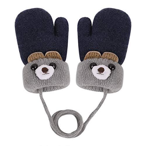 YSXY Süße Fäustlinge Baby Kleinkind Gestrickte Handschuhe für 1,2,3 Jahre Jungen Mädchen Winter Warme Strickhandschuhe mit schnur Fleece-Innenfutter (Dunkelblau)