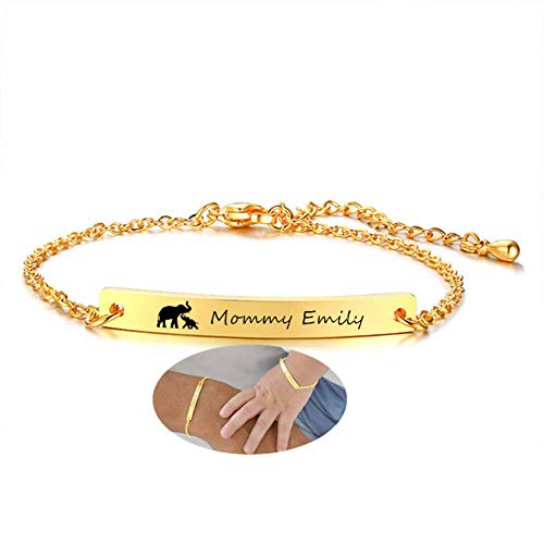 ForeverWill Custom Baby Mommy Name Bracelet Personalized 18K Gold Plated Stainless Steel ID Bracelets Nameplate for Girls Boys Mother and Newborn Gifts