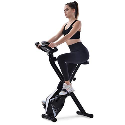 Klappbarer Hometrainer, Diealles Shine Heimtrainer Bike klappbar, 8 Widerstandsstufen, Fitness bike mit Handpulssensoren und Trainingscomputer