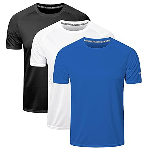 ZENGVEE 3 Pack Mens Running Shirts, Workout Tops Men Sport Fitness Shirts...