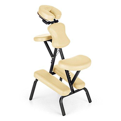 Klarfit MS 300 Siège chaise massage tatouage (en acier, max. 120kg, pliable et livré avec son sac de transport, rembourrage en mousse épais de 5 cm) - beige