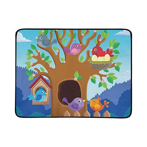 KAOROU Baum Stilisierte Vögel Theme Image 2 Tragbare Und Faltbare Deckenmatte 60x78 Zoll Handliche Matte Für Camping Picknick Strand Indoor Outdoor Reise