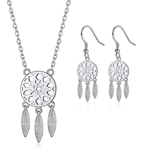 Bohemian Gypsy Dreamcatcher Necklace Earrings Jewelry Set for Women Sterling Silver Bridal Bridesmaid Gift