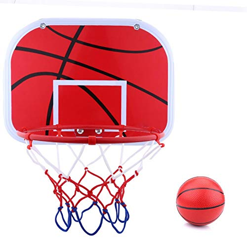 Nunafey Pelota de plástico + aro de Baloncesto de Hierro, Tablero de Baloncesto Interior de aro, Bomba de Aire para niños