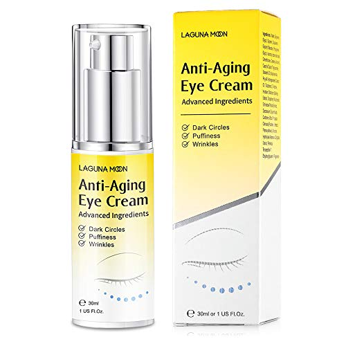Anti Aging Eye Cream - Best Under Eye Cream with Hyaluronic Acid for Dark Circles, Puffiness, Fine Lines, Anti Wrinkles, Suitable for All Skin Types - Lagunamoon 30ml/1 Fl Oz.