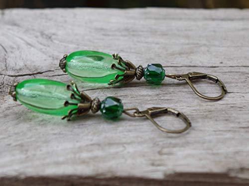 NEU!! Vintage Ohrringe mit böhmischen Oliven & Cathedral Glasperlen - grün & bronze