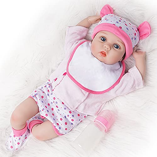 Yesteria Reborn Babys Puppe Mädchen Lebensechtes Kleinkind Silikon Rosa Outfit mit Spielzeug Giraffe 54 cm