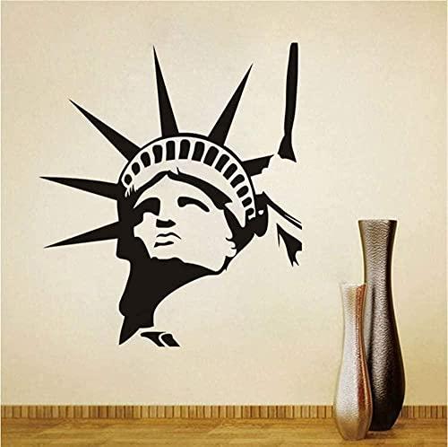 Estatua de la libertad, pegatina de pared con cabeza, punto de referencia de Nueva York, dormitorio, sala de estar, mural, artista, decoración del hogar, papel tapiz, estudio de aula, 44X50Cm