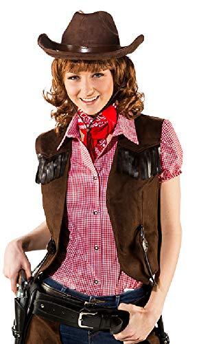 narrenkiste O9741-36-38 braun Damen Cowboy Cowgirl Weste Wildlederimitat Gr.36-38