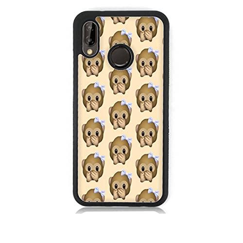 Funda Carcasa compatible con Huawei P20 Lite Whatsapp emoticon de mono pequeño no habla / Vuelos de aluminio con goma en los lados. / TPU antideslizante anti-scratch resistente a los golpes resistent