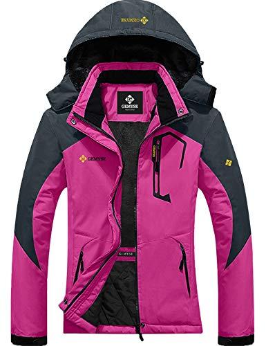 Womens Mountain Snow Rain Waterproof Rose Red Ski Jacket