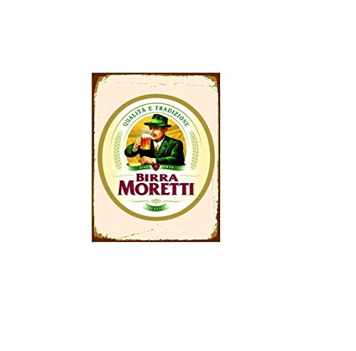 Novelty Retro Vintage Wall tin Plaque 20x15cm - Ideal for Pub shed Bar Office Man Cave Home Bedroom Dining Room Kitchen Gift - Moretti Birra Beer Lager - Decorative Sign
