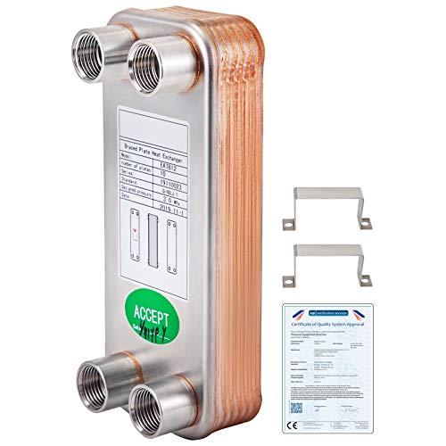 VEVOR Intercambiador de Calor de 10 Placas para Calefacción Adecuado para La Industria HVAC Industria Láctea/Alimentos/Bebidas, Industria de Refrigeración, Etc