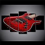 MPPSU Música-Roja-Guitarra-Eléctrica 5 Paneles Impresión HD Cuadros Decoracion Dormitorios Salon Modernos 150Cm×80Cm con Marco
