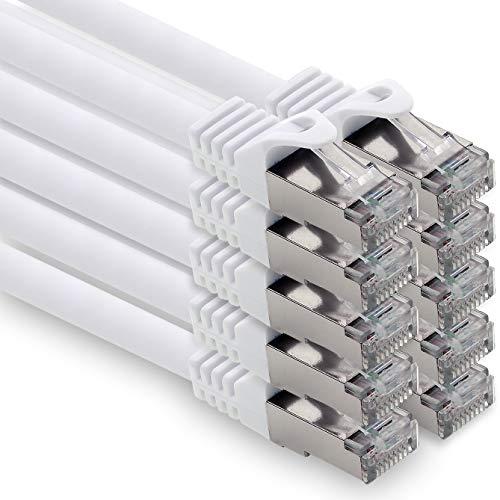 0,25m - weiss - 10 Stück CAT.7 Computer Ethernet Kabel Netzwerkkabel (Rohkabel) Patchkabel S-FTP LSZH PIMF 10GB s RJ45 Stecker Cat6a