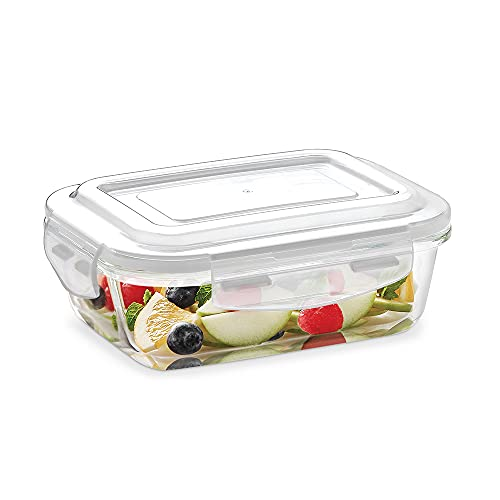 Borosil Klip-N-Store Glass Storage Container For Kitchen With Air-Tight Lid, Microwave & Oven Safe, Rectangular, 370 ml, Clear