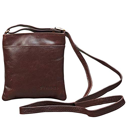 STILORD 'Lana' kleine Umhängetasche Damen 16 x 18 x 2 cm Ausgehtasche Schultertasche Handtasche echtes Büffel Leder Vintage Design Größe S, Farbe:schokoladen - braun