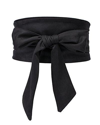 Aecibzo Women's Bowknot Self Tie Wrap Around Obi Waist Band Cinch Boho Waist Belt (Black)