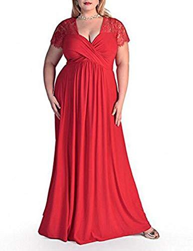 FeelinGirl Damen Plus Size Große Größen Elegantes Langes Spitzenkleid Cocktailkleid Abendkleid Hochzeit Brautkleid mit Kurz Ärmel O-Ausschnitt Blumensptizen,Rot,XXL (EU 58-60)