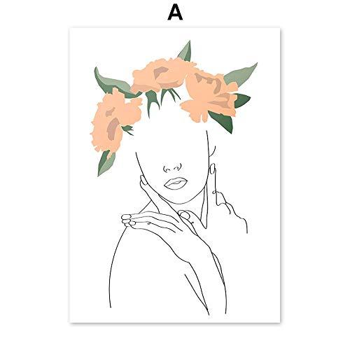 HJGB Pintura abstracta de girasol, frutas y plantas, minimalismo, arte de pintura nórdica, pósteres e impresiones para sala de estar, pintura en lienzo, 15 x 20 cm