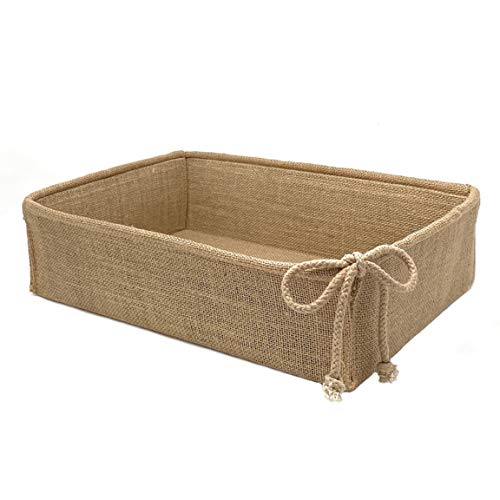 Decorative Basket Rectangular Burlap Fabric Storage Bin Collapsible Organizer for Home, Decor and Gifts (Large 14 x 9.75 x 4 inches)
