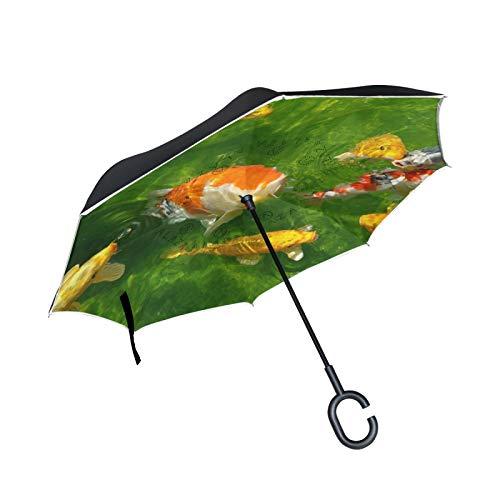 Carpas Koi Peces De Estanque Paraguas Invertido Doble Capa Inverso Reverso con Mango en Forma de C Paraguas de Plegado para Automóviles en Exteriores